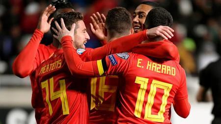 Pemain Belgia Merayakan Gol Hazard - INDOSPORT