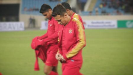 Egy Maulana Vikri dan kawan-kawanya tertunduk lesu usai laga melawan Vietnam di Kualifikasi Piala Asia U-23 2020. - INDOSPORT