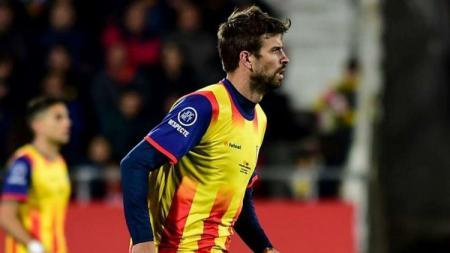 Gerard Pique saat laga Catalunya vs Venezuela, Senin (25/03/19). - INDOSPORT