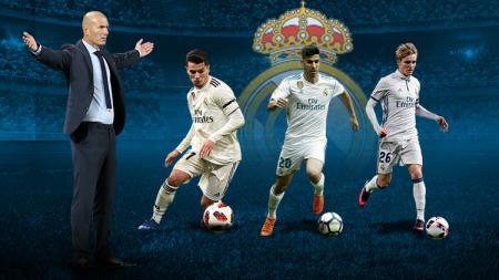 Zinedine Zidane dan pemain muda Madrid, Marco Asensio, Brahim Diaz, dan Martin Odegaard - INDOSPORT