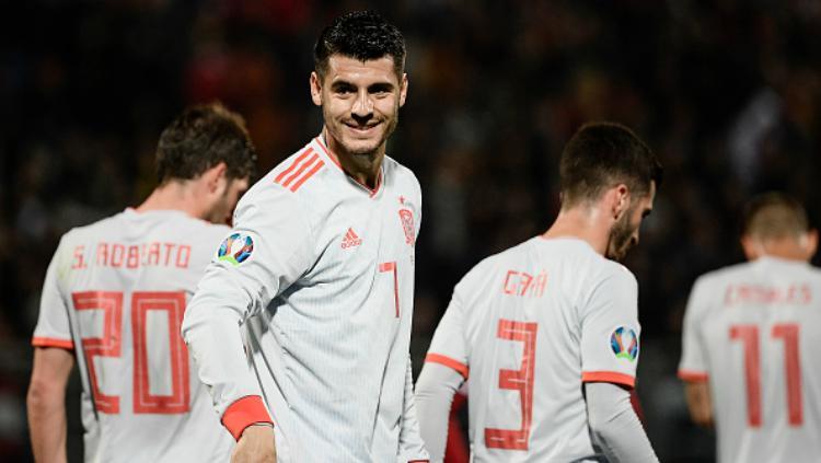 Alvaro Morata berselebrasi saat cetak gol ke gawang Malta, Rabu (27/03/19) dini hari WIB. Copyright: FILIPPO MONTEFORTE