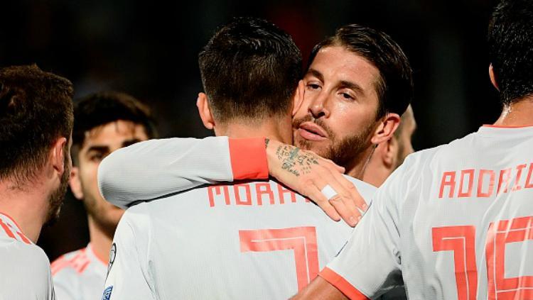 Selebrasi para pemain Spanyol saat mencetak gol ke gawang Malta, Rabu (27/03/19) dini hari WIB. Copyright: FILIPPO MONTEFORTE