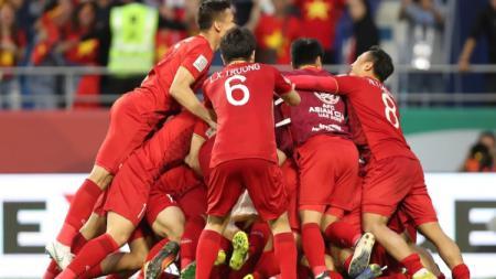 Selebrasi Timnas U-23 Vietnam usai Menang 4-0 atas Thailand di Kualifikasi Piala Asia 2020 - INDOSPORT