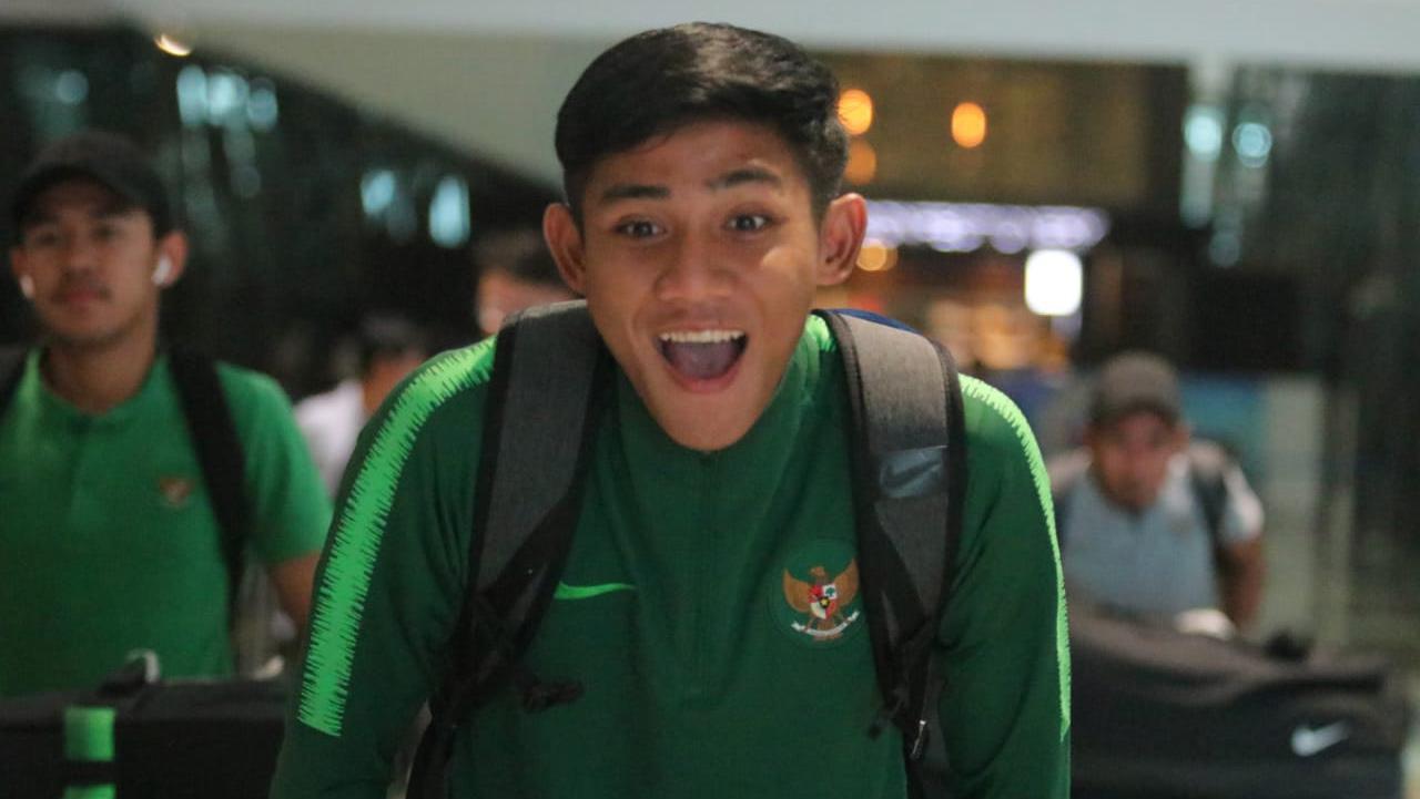 Firza Andika pemain Timnas U-23 tiba di Indonesia. Copyright: Bandung Saputra/PSSI