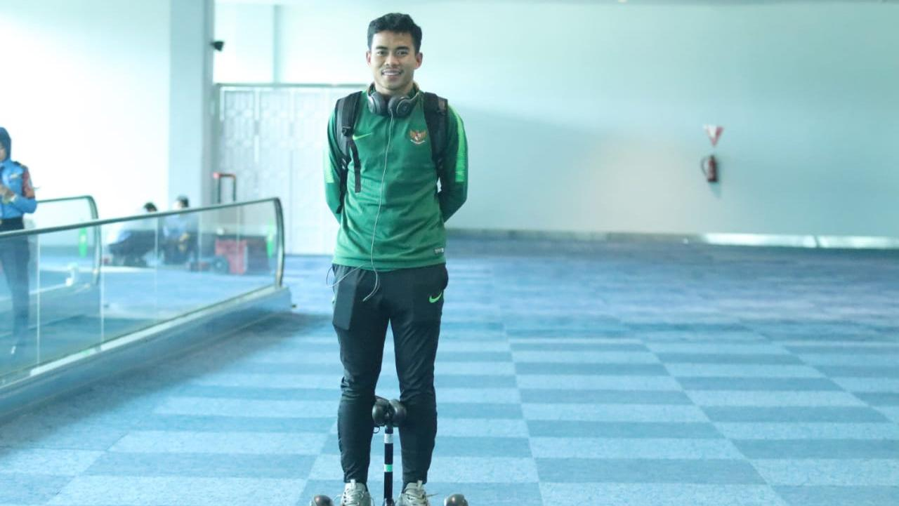 Nurhidayat Haji Haris pemain Timnas U-23 tiba di Indonesia. Copyright: Bandung Saputra/PSSI