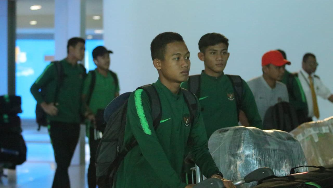 Sani Rizki Fauzi pemain Timnas U-23 tiba di Indonesia. Copyright: Bandung Saputra/PSSI