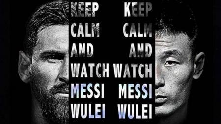Poster Messi vs Wu Lei untuk siaran langsung Barcelona vs Spanyol, 30 Maret 2019 - INDOSPORT