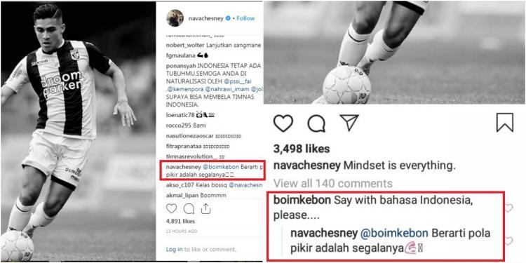 Komentar Navarone Foor menggunakan Bahasa Indonesia Copyright: Instagram