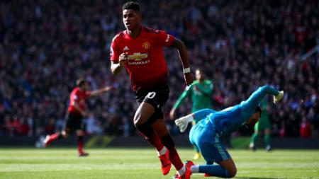 Rashford cetak gol ke gawang Watford. - INDOSPORT
