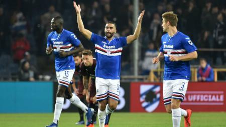 Gregoire Defrel merayakan golnya saat pertandingan Sampdoria vs Milan, Minggu (31/03/19) dini hari WIB. - INDOSPORT