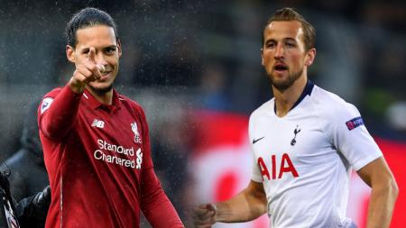 Bek tengah Liverpool, Virgil van Dijk vs Harry Kane, striker Tottenham Hotspur. - INDOSPORT