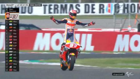 Pembalap Repsol Honda Marc Marquez memenangi balapan MotoGP Argentina 2019, Senin (01/04/19) dini hari. - INDOSPORT