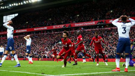Mohamed Salah merayakan golnya ke gawang Tottenham Hotspur - INDOSPORT