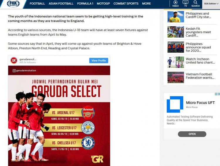 Garuda Select jadi sorotan media asing Copyright: Fox Sports Asia