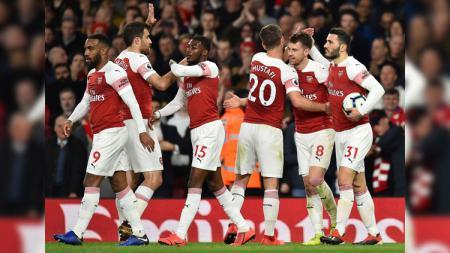 Para pemain merayakan gol di partai Arsenal vs Newcastle United pada ajang Liga Primer Inggris (Premier League), Selasa (02/04/19) dini hari. - INDOSPORT