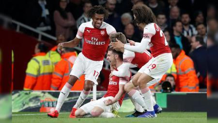 Penggawa Arsenal merayakan gol ke gawang Newcastle United di Liga Primer Inggris (Premier League), Selasa (02/04/19) dini hari. - INDOSPORT