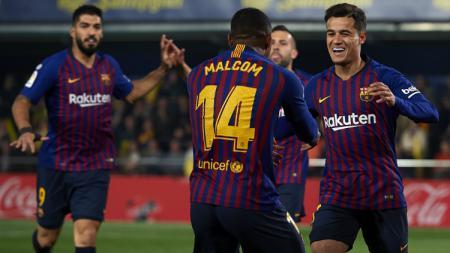 AS Roma berniat mendatangkan pemain Barcelona, Malcom, pada bursa transfer musim panas 2019 ini. Manuel Queimadelos Alonso/Getty Images. - INDOSPORT