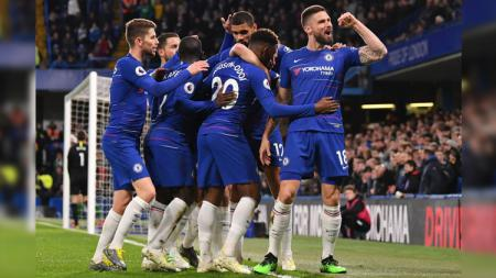 Olivier Giroud merayakan gol pada partai Chelsea vs Brighton & Hove Albion di Liga Primer Inggris (Premier League), Kamis (04/04/19). - INDOSPORT