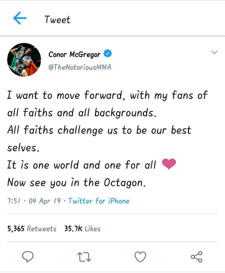 Unggahan Twitter Conor McGregor yang ingin merangkul seluruh kalangan. Copyright: Twitter @TheNotoriousMMA