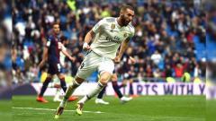 Indosport - Karim Benzema (Real Madrid) menjadi salah satu top skor sementara LaLiga Spanyol 2019/20 dengan torehan satu gol.