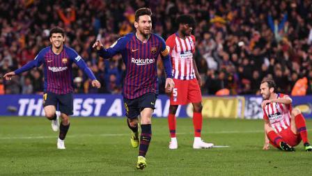 Aksi selebrasi Luis Suarez melakukan selebrasi usai cetak gol pada menit ke-86 Minggu (07/04/19). Alex Caparros / Getty Images