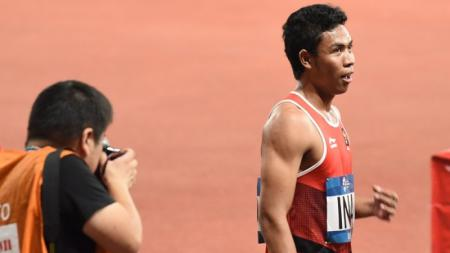 Lalu Muhammad Zohri di ajang Asian Games 2018. - INDOSPORT