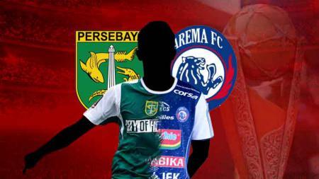 Ilustrasi duel pemain Persebaya Surabaya vs Arema FC - INDOSPORT