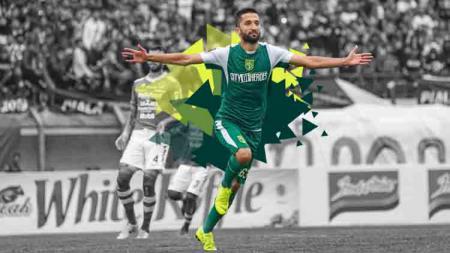 Manuchekhr Dzhalilov melakukan selebrasi saat melawan Persib Bandung di Piala Presiden 2019. - INDOSPORT