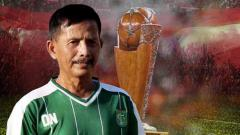 Indosport - Djajang Nurdjaman pelatih Persebaya Surabaya dan trofi Piala Presiden 2019