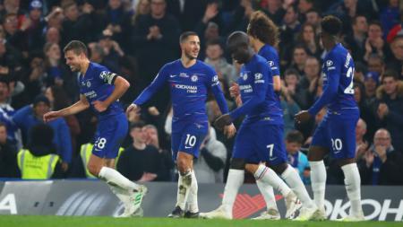 Selebrasi para pemain Chelsea usai gol Eden Hazard - INDOSPORT
