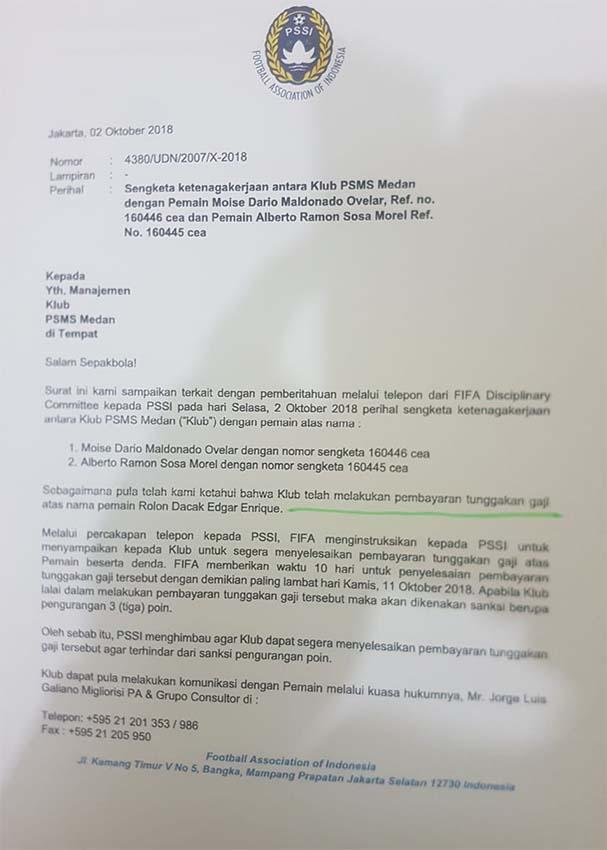 Surat PSSI kepada PSMS Medan terkait penundaan Gaji Copyright: Istimewa