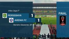 Indosport - Hasil laga babak pertama Persebaya vs Arema FC.