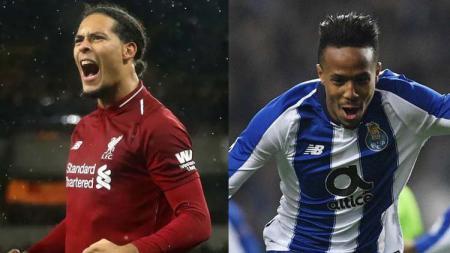 Bek Liverpool Virgin van Dijk (kiri) dan pemain belakang Porto Eder Militao (kanan). - INDOSPORT
