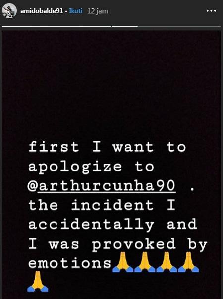 Amido Balde meminta maaf kepada bek Arema FC Arthur Cunha lewat instagram, Selasa (09/04/19). Copyright: instagram.com/amidobalde91