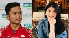 Indosport - Jadi runner up di BWF World Tour Finals 2019, Anthony Sinisuka Ginting langsung dihibur kekasih hatinya, Mitzi Abigail.