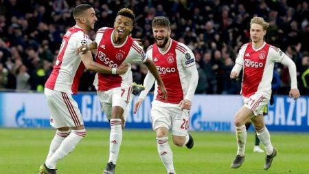David Neres menjebol gawang Juventus di awal babak kedua saat 8 besar Liga Champions 2019, Kamis (11/04/19), di Amsterdam Arena. - INDOSPORT