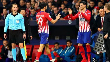 Duo eks Chelsea, Alvaro Morata dan Diego Costa, mendapat apresiasi penuh dari Diego Simeone meski baru mencetak masing-masing satu gol bagi Atletico Madrid - INDOSPORT