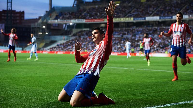 Alvaro Morata merayakan gol yang ia cetak bersama Atletico Madrid Copyright: Juan Manuel Serrano Arce / Stringer