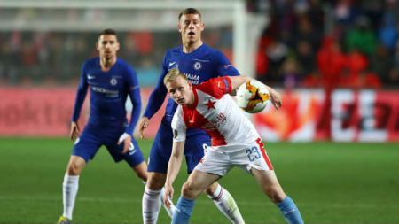 Laga leg pertama perempatfinal Liga Europa antara Slavia Praha vs Chelsea (11/4/19). - INDOSPORT