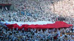 Indosport - Kampanye Akbar calon Presiden Indonesia Prabowo Subianto di Stadion Nasional GBK (07-04-2019). Foto: Adriana Adie/NurPhoto via Getty Images
