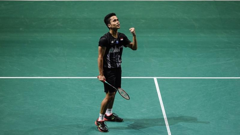 Anthony Sinisuka Ginting di Singapore Open 2019 Copyright: ROSLAN RAHMAN/AFP/Getty Images