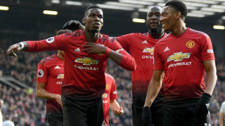 Selebrasi para pemain Manchester United usai gol Paul Pogba. - INDOSPORT