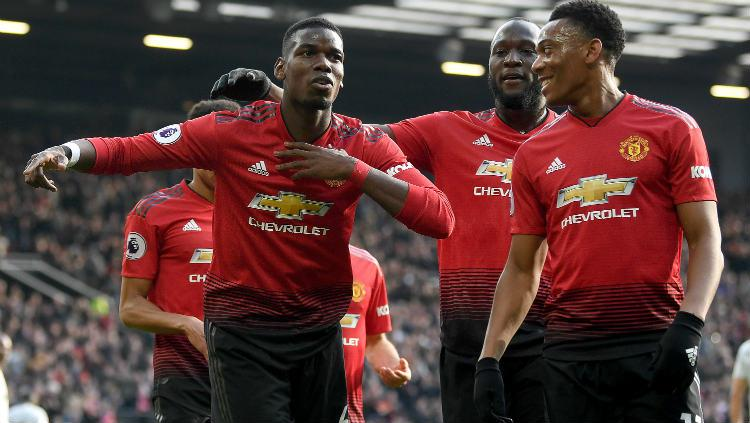 Selebrasi para pemain Manchester United usai gol Paul Pogba. Copyright: Gareth Copley/Getty Images