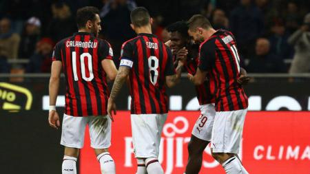 Perayaan gol AC Milan ke gawang Lazio, Kamis (14/04/19), di San Siro - INDOSPORT