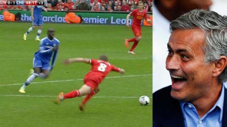 Momen Steven Gerrard terpeleset di Liverpool vs Chelsea 2014 dan ekspresi Jose Mourinho yang tertawa. - INDOSPORT