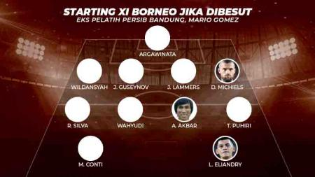 Starting XI Borneo jika dibesut eks pelatih Persib Bandung, Mario Gomez. Grafis:Tim/Indosport.com - INDOSPORT
