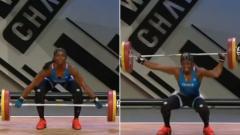 Indosport - Gaelle Nayo Ketchanke alami patah tulang saat mengikuti turnamen angkat berat. Sumber:Youtube/SportsHome