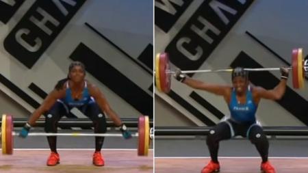 Gaelle Nayo Ketchanke alami patah tulang saat mengikuti turnamen angkat berat. Sumber:Youtube/SportsHome - INDOSPORT