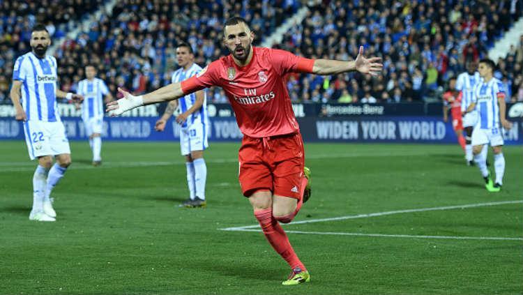 Selebrasi gol Karim Benzema ke gawang Leganes. Copyright: Soccrates Images / Getty Images