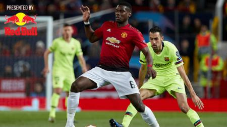Paul Pogba dalam laga Liga Champions Manchester United vs Barcelona, Rabu (10/4/19). - INDOSPORT
